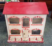 Sale 8942 - Lot 1038 - Vintage Timber Dolls House with Furniture (H: 56, W: 62, D: 42cm)