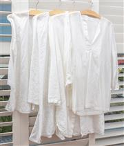 Sale 9023H - Lot 87 - Four white linen and cotton blend pool shirts some with embroidery all size L