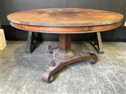 Sale 9048 - Lot 1047 - Early 19th Century Rosewood Supper Table, with circular top with later applied brass band, on a hexagonal spreading pedestal, on tri...