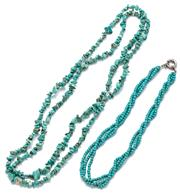 Sale 9083 - Lot 581 - TWO TURQUOISE BEAD NECKLACES; a triple strand of 4mm round beads, length 44cm other a long strand of freeform beads length, 120cm