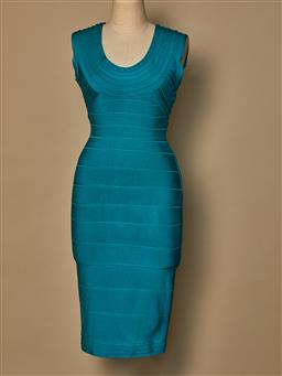 Sale 9093F - Lot 39 - A Herve Leger turquoise body con dress, size small
