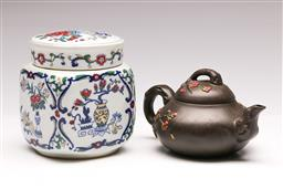 Sale 9136 - Lot 265 - A Yixing teapot (L 17cm) together with A lidded Chinese vessel (H 13cm)
