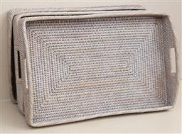 Sale 9150H - Lot 197 - A group of three woven handled trays, Width 59cm