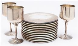 Sale 9099 - Lot 189 - Collection of strachan plated wares including 3 goblets and coasters