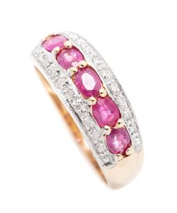 Sale 9253J - Lot 392 - A 9CT GOLD SYNTHETIC RUBY AND DIAMOND RING; 7mm wide band set across the top with 5 oval cut flux rubies between 2 rows of round bri...