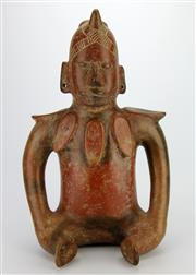 Sale 8139 - Lot 75 - Possibly Pre-Columian Figure of a Seated Figure