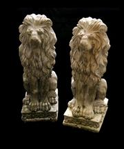 Sale 8202A - Lot 52 - A pair of cast stone seated lion garden figures, H 60cm, small chips and wear