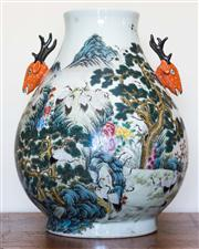 Sale 8284A - Lot 21 - A large Chinese two-deer handle vase, polychrome cranes motif, marks to base, h48cm