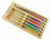 Sale 8372A - Lot 62 - Laguiole by Andre Aubrac 6-Piece Steak Knife Set w Multi Coloured Handles RRP $70