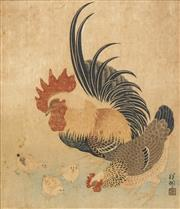 Sale 8497A - Lot 5072 - Artist Unknown - Rooster, Hen and Chicks 27 x 23cm