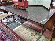 Sale 8580 - Lot 1060 - Granite Table over Chrome Base (73 x 140 x 75cm)