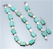 Sale 9037F - Lot 29 - A PEARL AND STONE SET NECKLACE, BRACELET AND EARRINGS SUITE; 25 x 18mm shaped rectangular dyed howlite beads and 14-19mm freshwater...