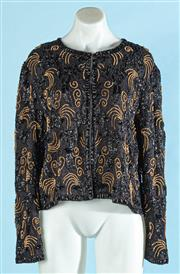 Sale 9090F - Lot 130 - A VINTAGE SCOOP NECK JACKET, embellished all over with beads and swirls, size M