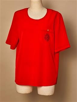 Sale 9093F - Lot 12 - A vintage Burberry's red polyester top with pocket, size 12