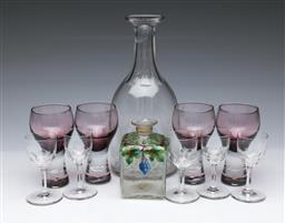 Sale 9098 - Lot 247 - Glass decanter with 5 matched glasses, together with a set of four purple glasses, and another