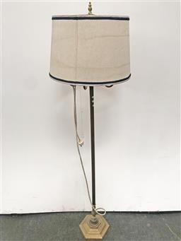 Sale 9102 - Lot 1140 - Fluted Brass Floor Lamp with Scrolled Arms (h:172cm)