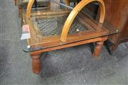 Sale 8066 - Lot 1072 - Timber Coffee Table with Glass Top