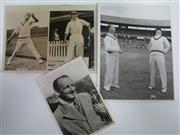 Sale 8200A - Lot 3010 - Three Original Bradman Press Photos, as used 1948. Wonderful clean examples.