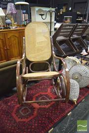 Sale 8326 - Lot 1291 - Bentwood Rocking Chair w Rattan Back