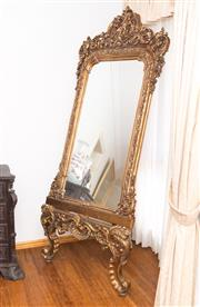 Sale 8338A - Lot 83 - An antique style molded gilt over mantle mirror, on matching easel stand, total H approx 220cm
