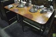 Sale 8345 - Lot 1090 - Victorian Mahogany Sutherland Table, with bobbin turned supports & stretcher