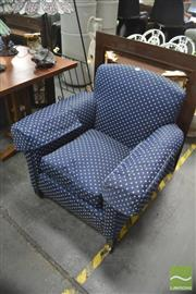 Sale 8406 - Lot 1154 - Pair of Blue Fabric Armchairs