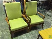 Sale 8550 - Lot 1091 - Pair of Vintage Teak Armchairs with Green Upholstery