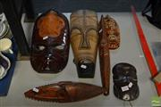 Sale 8548 - Lot 2340 - Collection of Wooden Masks, Various Cultures