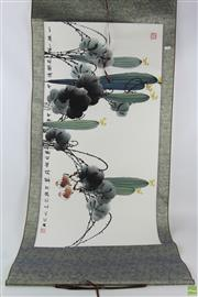 Sale 8568 - Lot 93 - Fruit And Birds Themed Chinese Scroll