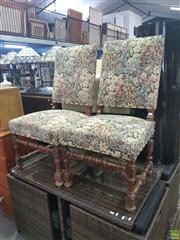 Sale 8634 - Lot 1040 - Pair of Louis XIV Style Walnut Side Chairs, with floral tapestry upholstery, turned legs & stretcher base