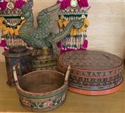 Sale 8510A - Lot 31 - A carved and painted timber oriental cockatrice, H 46cm together with a painted lacquer ware circular lidded box (damage to top) tog...