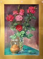 Sale 8794 - Lot 2019 - Paquita Sabrafen - Still Life, Roses and Kettle oil on canvas, 102 x 73cm (unframed/mounted)
