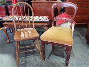 Sale 8942 - Lot 1013 - Balloon Back Chair with Mustard Upholstery Together with Spindle Back Example (Balloon Back - H: 88, W: 47, D: 50cm)