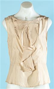 Sale 9090F - Lot 39 - A HERRINGBONE RUFFLE FRONT BLOUSE, in cream silk, size 8