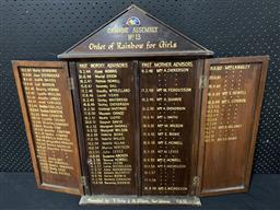 Sale 9188 - Lot 1036 - Timber cased achievement board for ORDER OF RAINBOW for GIRLS, Campsie assembly (h:70 x w:84cm)