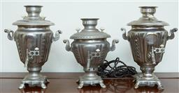Sale 9103M - Lot 530 - A group of three electric plated samovars, tallest Height 34cm