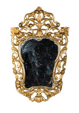 Sale 9123J - Lot 170 - Antique Italian / French baroque style carved gilt wood wall mirror Ht: 93 cm