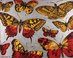 Sale 9244 - Lot 528 - DAVID BROMLEY (1960 - ) Butterflies acrylic and silverleaf on canvas 121.5 x 152 cm signed lower left