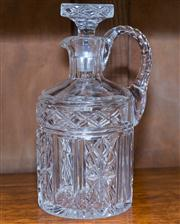 Sale 8308A - Lot 175 - A very elaborate hand cut lead crystal decanter with handle. Ht: 21cm