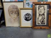 Sale 8407T - Lot 2032 - Framed Silver Gelatine Photography Harem, signed Michael Berkowitz with 2 Others incl Egon Hugh Pastel & Mark Kaiser Caricature