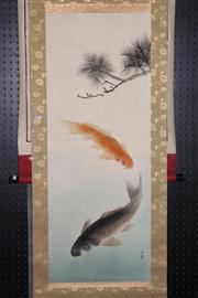 Sale 8445 - Lot 76 - Chinese Colourful Carp Scroll