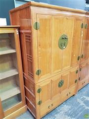 Sale 8566 - Lot 1144 - Two Piece Oriental Wardrobe with 4 Doors and 2 Drawers (175 x 110 x 65)