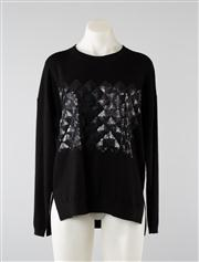 Sale 8740F - Lot 102 - A Karen Millen wool blend black sweater with sequined panel to front, size S
