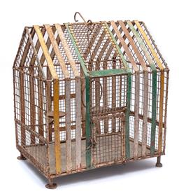 Sale 9123J - Lot 345 - A well made, wrought iron birdcage with painted finish, height 68, width 61, depth 40cm