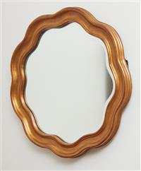 Sale 9090H - Lot 89 - A gilt and shaped framed mirror retailed by Harrods UK. diameter 63cm