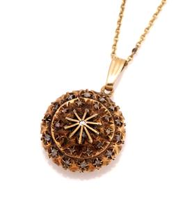 Sale 9095 - Lot 305 - A 14CT GOLD STONE SET PENDANT NECKLACE; 16mm wide target pendant with wire pyramid form center, set throughout with table cut diamon...