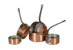 Sale 9123J - Lot 261 - A graduated set of 5 vintage French heavy gauge copper cooking pans. Approx. 2 mm thick factory stamped 'Fabrication Francais' 12- 2.