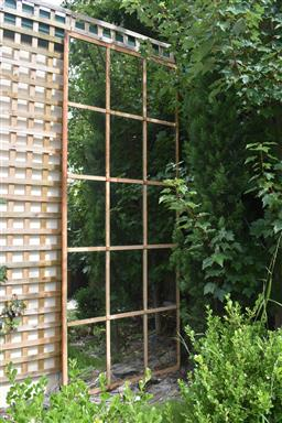Sale 9135H - Lot 190 - A large French industrial window with fitted mirrors, can be displayed horizontally. 2.38M Height, 97cm Width