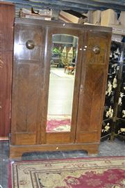 Sale 7987A - Lot 1175 - Timber Wardrobe with Central Mirrored Section Flanked by 2 Doors