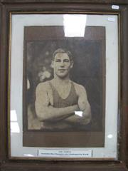 Sale 8200A - Lot 3002 - Les Darcy, an original photograph of Les Darcy, 1915 image 30 x 25 cm, foxed, but a good Cameron image. Framed.